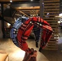 Padrão de grade coreano Imprimir pano headbands charme mulheres meninas esporte hairbands borda larga aro de cabelo retro cruz cinturais acessórios