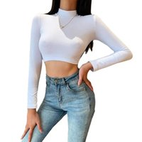 Women's T-Shirt Women Sexy Backless Crop Tops, High Neck Long Sleeve Solid Color Tie Up Back Slim Shirts
