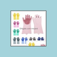 Tools Housekee Organization Home & Garden2Pcs Pair Magic Washing Brush Sile Glove Resuable Household Scrubber Anti Scald Dishwashing Gloves