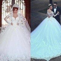 Col de bateau Applique Prestige Plus Taille Robe à manches longues pour la mariée Custom Custom En dentelle Robe de mariée Robes de mariée