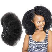 Malayisan Afro Winky Curly Human Hairs Erweiterungen Clips in 100% Remy Hair Natürliche Farbe für Frauen
