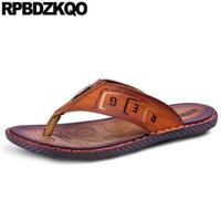 Sandals Fashion Outdoor Slides Flat Men Leather Summer Shoes Slip On 2021 Slippers Brown Beach Native Black Flip Flop Open Toe