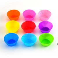 Silicone Cake Mold Cup Round Muffin Cupcake Baking Molds Kitchen Cooking Bakeware Maker Colorful DIY Cake Decorating Tools DHE6626