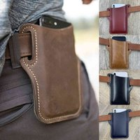 Leather Vintage Mobile Phone Case Cover Pack Men Portable Waist Bag Belt Clip Holster Travel Hiking Cell Pouch Purse