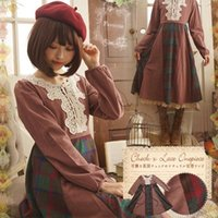 Casual Dresses Mori Girl Original Lace Flower Lolita Dress Women Japanese Sweet Plaid Patchwork Long Sleeve Female Ladies T456