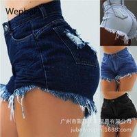 نساء السراويل WEPBEL عالية الخصر زائد الحجم الدينيم السراويل القصيرة الشقوق يمزق جينز مثير غسلها السراويل