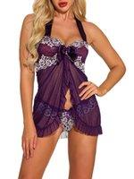Sistemas de sujetadores Mujeres sexy ropa interior ropa interior Vestido erótico Ve-Thread Pijamas Sleepwear Nightdress + Thong Disfraces Sexi
