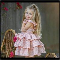 Elbiseler Bebek, Annelik Bırak Teslimat 2021 Sevimli Yürüyor Giyim Çocuk Kız Elbise Ekose Ruffled Tutu Sundress Backless Parti Pageant Laye