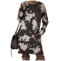 Casual Dresses Long Sleeve Tie Dye Print Women Autumn Fashion Sale Loose Short Dress Ladies Clothing 2021