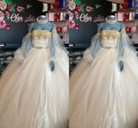 Fashion Gold Embellished Detachable Long Sleeves Quinceanera Dresses Champagne Ball Gown Lace Illusion Mexican Charro XV Vestido de Sweet 15 Prom Eveening Dress
