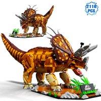 Teknik Jurassic Dinozor Hayvan Parkı Yapı Taşları MOC Fikirler Triceratops Tuğla Meclisi Oyuncaklar Erkek Hediyeler