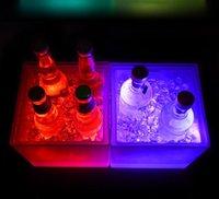 3500ml 직사각형 LED 라이트 아이스 버킷 빛나는 이중층 사각형 버킷 플라스틱 비 독성 방수 부엌 바 도구 내구성 GGA5055