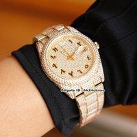3 stil 41mm datum Alle Diamanten ETA2824 Automatische Herrenuhr 126300 126301 126303 Diamant-arabisches Zifferblatt Diamant 18k Gold Armband G