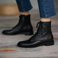 Boots Soft Leather Martn Women's Black Low-heeled Thick-heeled British Style Spring Autumn Short Single Shoes