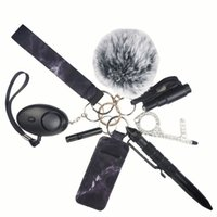 Кольцо самообороны Черный брелок для женщин Portachiavi Donna Alarm Tactical Pen Личная защита Ключевые слова набор девушек подарки Armas