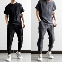 Men's Tracksuits Icy Pleated Cotton And Linen Short-sleeved Suit Summer Comfortable Casual Sports 2 Piece