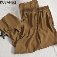 Frauen Hosen Capris Kusahiki Frauen Koreaner Stretch Hohe Taille Lange Hose Herbst 2021 Kausal Wide Bein Pantalones de Mujer 6L541
