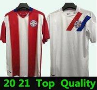 20 21 فريق باراجواي الوطني رجل كرة القدم الفانيلة الجديدة المنزل الأحمر الأبيض كرة القدم قميص قصير الأكمام camisetas دي فيوتول