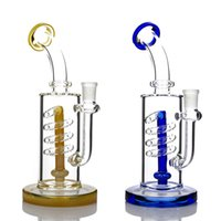 """10 inch Glass bong Hookah """"The Typhoon"""" Spiral Coil Water Pipe showerhead Perc Recycler Dab Oil Rigs With Quartz Banger"""