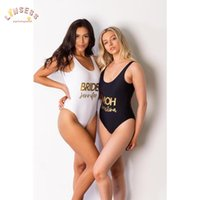 One-Piece Suits CUSTOM Swimsuit Bride Bathing Bridesmaids Bachelorette Party Gift Celebration Swimwear High Cut Women's Beachwear 2021