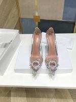Горячие весенние лето элегантные стили женские туфли горный хрусталь высокие каблуки кристаллы заостренные носки сетки насосы женщины красная подошва свадебные туфли PW0411