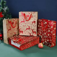 Christmas Gift Wrap Kraft Bags Xmas Assorted Paper Bag Bulk with Handles for Party Supplie