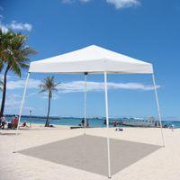 WACO 8x8 'Canopy portátil, Patio Shade, Pierna Slant Lightweight Compact, W / Mochila Easy One Person Set-Up Beach Tent, uso doméstico Tiendas de plegamiento a prueba de agua, Blanco