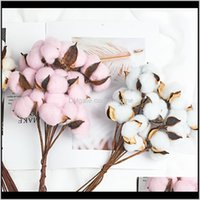 Festive Supplies Gardennatural Immortal Dried Cotton Flowers Artificial Plants Floral Branch For Wedding Party Decoration Fake Home Decorativ