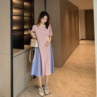 Maternity Dresses Block Color Patchwork Pregnant Women Summer Dress Short Sleeve Fashion Clothes Long Loose Pregnancy Cotton Linen