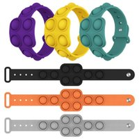 2021 Fidget Funny stress Toy relievers at work decompress flip key ring puzzle press finger push bubble band silicone bracelet