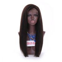 kinky Straight Lace Front Human Hair Wigs long length Brazilian Virgin Wig coarse yaki