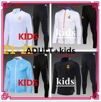 Top 2021 Real Madrid Kids Soccer Jerseys Trainingsanzug Kit 21/22 Hazard Jersey Hoodie Benzema Bale Voller Reißverschluss Football Joggingjacke Trainingsanzug