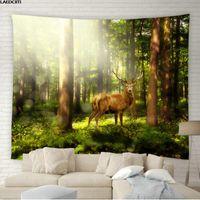 태피스트리 자연 풍경 태피스 트리 안개가 자욱한 숲 풍경 벽 매달려 녹색 식물 꽃 엘크 배경 천으로 거실 침실 장식