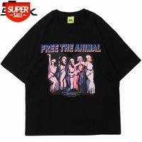 Hip Hop Streetwear Harajuku T Shirt Sexy Girl Letter Print Tshirt 2021 Homens Verão T-shirt de manga curta T-shirt algodão solto tops # VU5C
