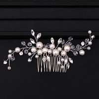 Hair Clips & Barrettes Silver Color Tiara Combs For Women Bride Pearl Crystal Headpiece Wedding Accessories Bridal Jewelry