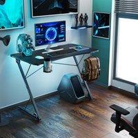 기타 가구 게임 데스크, Z 형 전문 전자 스포츠 워크 스테이션 LED 조명 대형 탄소 섬유 표면, 홈 오피스에 대 한 인체 공학적 PC 테이블