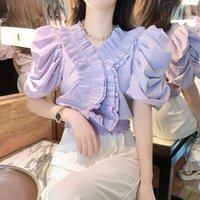 Women's Blouses & Shirts Retro Temperament Ladies Puff Sleeve Short Paragraph Age-reducing V-neck Waist Chiffon Shirt Blouse Women Su