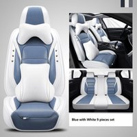 Car Accessory Seat Cover For Sedan SUV Durable High Quality Leather Universal Five Seats Set Cushion Mats Including Front And Back Covers Fashionable Blue Design