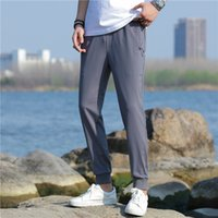 Hommes causaux pantalons mode pantalon droit printemps été taille élastique taille large couleur pantalon de causalité hommes pantalons de causalité