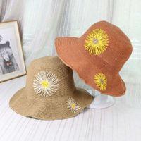 Moda aksesuarları bahar ve yaz kadın güneş gölge saman katlanır el işlemeli ayçiçeği çiçek balıkçı havzası şapka plaj gelgit