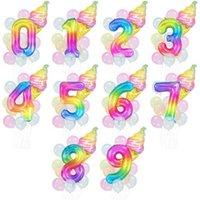 Party Decoration 40inch Rainbow Number Summer Ice Cream Donut Lolipops Foil Balloon Sets For DIY Wedding Kids Birthday Decor Globos YEJG