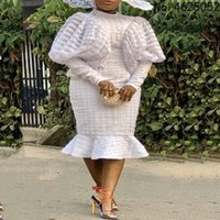 Ethnic Clothing Africa White Fashion Ladies African Clothes Dashiki Midi Dress Long Sleeve Dresses For Women Robe Africaine