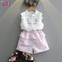 LZH Summer Baby Girls Clothing Sets Floral Chiffon Sleeveless T-Shirt+Shorts Set For Kids Children's Outfit New 2Pcs Suits 210426