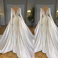 2021 Sexy Luxury Pearls Crystal Mermaid Wedding Dresses Long Sleeves with Overskirt Detachable Train Deep V Neck Bridal Gowns Elegant Weddings Dress robes de mariée