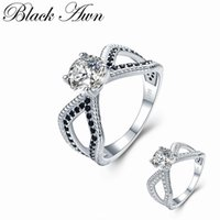 Cluster Rings [BLACK AWN] Trendy 3.6g 925 Sterling Silver Jewelry Black Spinel Round Bague Wedding For Women Bijoux C485