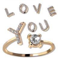Verstellbarer Schmuck A-Z 26 Buchstaben Ringe für Frauen Liebhaber Silber Farbe Rhinestone Name Ring Weibliche Anfängliche Mode Diamant Ringe Geschenk 458 Q2