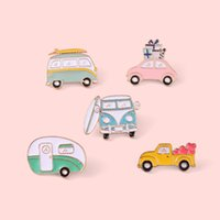 Creative Cartoon Bus Brooches Set 5pcs Gold Plated Enamel Paint Badges for Girls Car Alloy Lapel Pin Denim Shirt Fashion Jewelry Gift Bag Hat Accessories Collar Pins