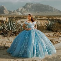 Off the Shoulder Ball Gown Quinceanera Dresses Glitter 3D Floral Appliques Prom Gowns Floor Length Puffy Tulle Tiered Sweet 15 Masquerade Dress