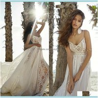 A-Line , Party & Eventsrish 2021 Summer Beach Boho Dresses A Line Lace Chiffon Country Bridal Gowns Long Straps Bohemian Spaghetti Wedding K