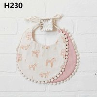 Newborn Burp Cloths Bibs Baby Tassel Floral Bandana Printed INS Fashion Waterproof Pure Cotton Saliva Scarves Towel DAE147